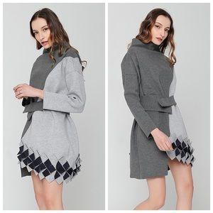 Tops - 🆕 Black & Gray 3D Oversize Tunic Top C12